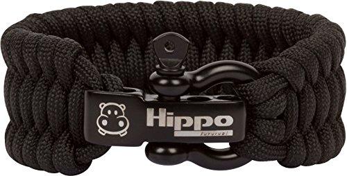 Hippo Survival Paracord Bracelet with Black Metal Shackle and Adjustable Size - Black