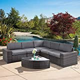 SUNCROWN Outdoor Furniture 6-Piece Patio Sofa and Wedge Table Set, All-Weather Brown Wicker with Washable Seat Cushions and Coffee Table,(Dark Grey)