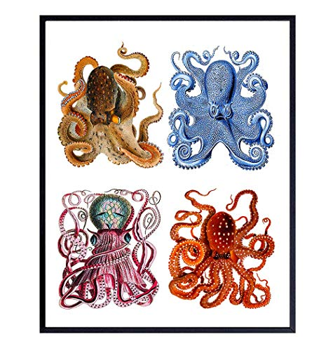 Vintage Octopus Wall Art Decor - Unique Nautical Retro Decoration for Bathroom, Living Room, Bedroom, Beach House – Cool Gift for Steampunk, Goth, Gothic Fans - 8x10 UNFRAMED Picture Print