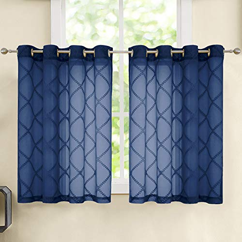 """Nottingson Home Navy Blue Sheer Kitchen Curtains for Window 45 Inch Length Jaquard Pattern Linen Textured Short Cafe/Bathroom Tier Curtain with Geometric Pattern Ring Top 54"""" Wx45 L 2 Panels"""
