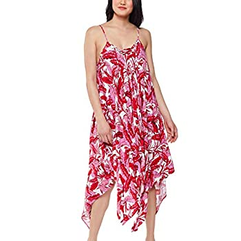 Jessica Simpson Womens Paradiso Palm Lace Front Dress Cover-Up Fuchsia Multi MD  Women s 10-12
