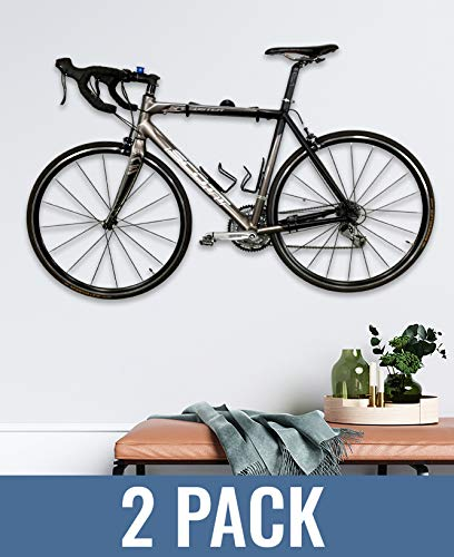StoreYourBoard 2 PACK Naked Bike Wall Display Mount, Indoor Home Garage Apartment Storage Rack, Floating Minimalist Design, Adjustable Bicycle Hanger Holder, Holds Road Bikes and Mountain Bikes