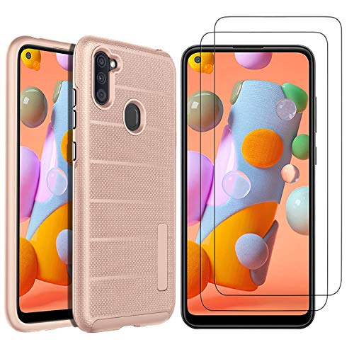 GESMA for Samsung Galaxy A11 Case with Screen Protectors, [1 Case+2 Screen Protectors] Scratch Resistant & Anti Slip Grippy Soft Case Tempered Glass Screen Protector for Samsung Galaxy A11 (Rose Gold)