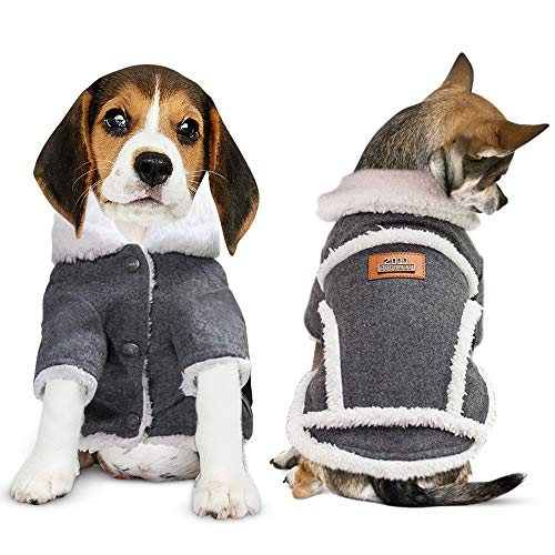 DB Warm Winter Dog Jacket, Lightweight Shearling Fleeced Coat for Small Dogs and Puppies