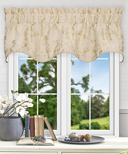Simple Comfort Meadow Textured Open Floral Pattern (Scallop Valance, 50 x 15, Linen)