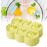 6 Griglia Cartoon Animal Popsicle muffa del gelato dei capretti Maker BPA-Free Piazza vassoio di ghiaccio Crema per famiglia fai da te Popsicle Stampi (verde)