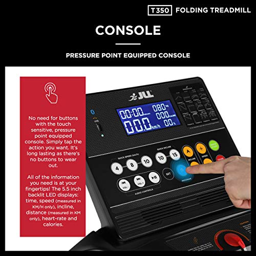 JLL T350 Digital Folding Treadmill, 2020 New Generation Digital Control 4.5HP Motor, 20 Incline Levels,0.3km/h to 18km/h, 20 Programmes, Bluetooth & Speakers, 2-Year Parts&Labour,5-Year Motor Cover