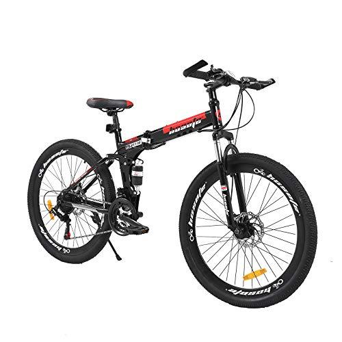 hosote 26 Inch Full Suspension Folding Mountain Bike, 21...
