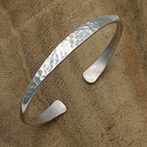 Hammered Sterling Silver Handmade Cuff Bracelet, Minimalist Simple Shiny Silver 1/4 inch Wide, 6 1/2 long, Thick and Solid, Gift for Her
