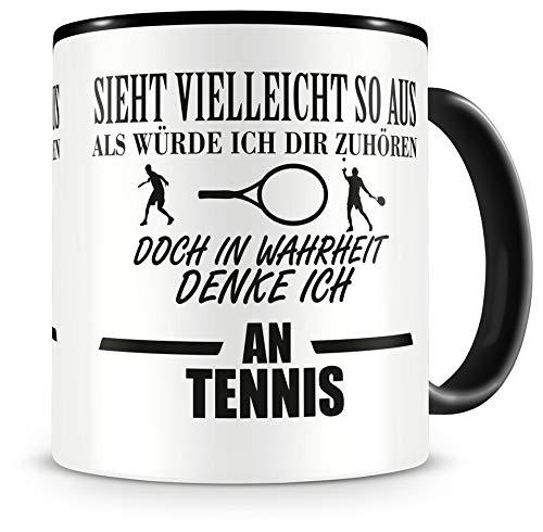 Samunshi® Ich denke an Tennis Tasse Kaffeetasse Teetasse Kaffeepott Kaffeebecher Becher H:95mm/D:82mm schwarz