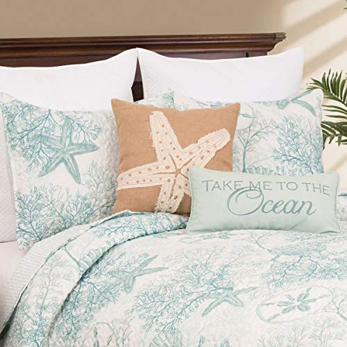 C&F Home Ocean Treasures Blue and White Starfish Sand Dollar and Coral Full/Queen 3 Piece Quilt Set Full/Queen 3 Piece Set Blue