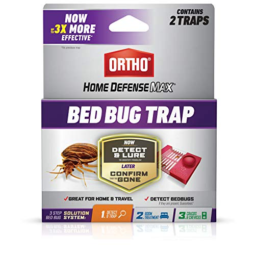 Ortho 0465705 Home Defense Max Bed Bug Trap: Use in Your House or When Traveling, Part of a 3-Step Solution System, Pesticide-Free, 2-Pack