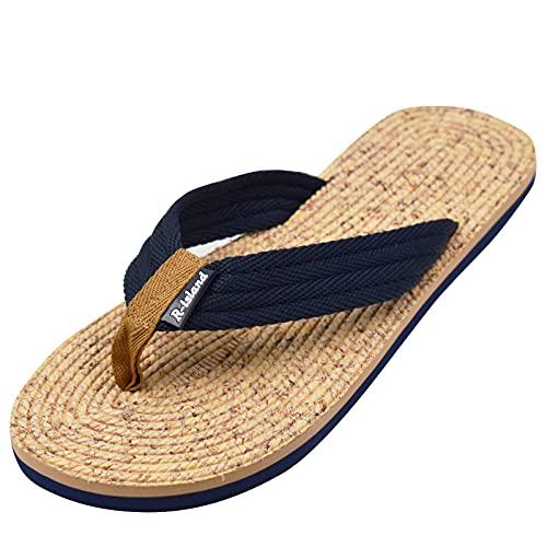 R-ISLAND Infradito Uomo Ciabatte uomo Sandali Scarpe da Spiaggia e Piscina Antiscivolo Interno All'aperto Taglia 40-45 (Blu, numeric_42)