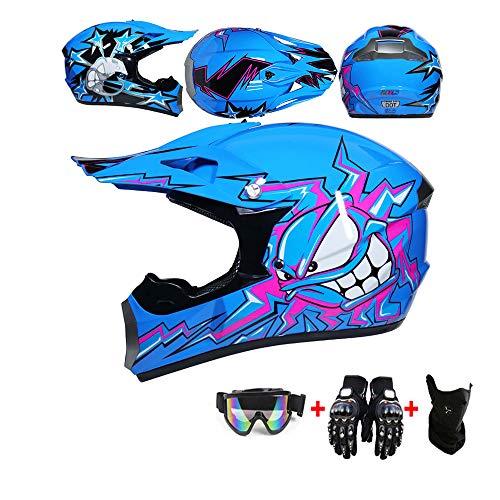 WRISCG Carretera Moto Casco Motocross Casco, Casco Motocross para Niños 4pcs Juego De Casco De Moto + Gafas + Guantes De Motocicleta + Mascarilla, Apto para Adultos y niños