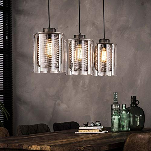 famlights Pendelleuchte Haucke aus Metall und Glas, Silber, 3x E27, Industrie Design | Pendellampe Wohnzimmer, Esszimmer...