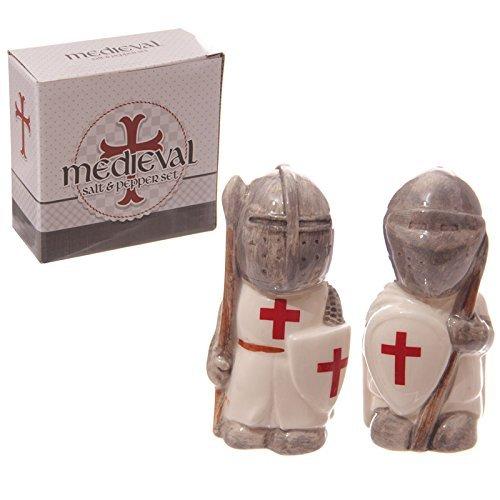 Diseño de caballeros medievales Crusader juego de salero y pimentero PDS