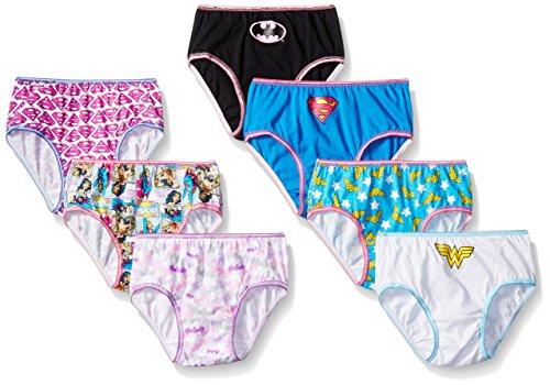 DC Comics Big Girls Justice League Logo 7 Pack Panty, Assorted, 4