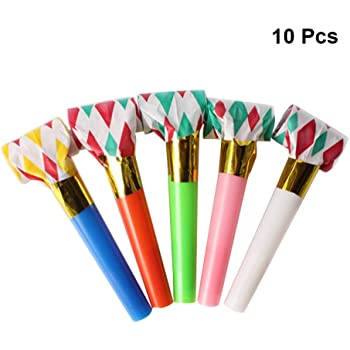 TOYMYTOY 24PCS Party Blowers Noisemakers Glitter Fringed Metallic Blowouts Noise Maker Whistles Kids Toy Birthday Party Favors Mixed Color