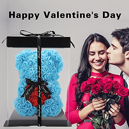 Oso de rosa – Oso de peluche rosa en cada regalo para mujer – Oso de flores, regalo para ella – Caja de regalo transparente incluida! 10 pulgadas (azul, 10 pulgadas)