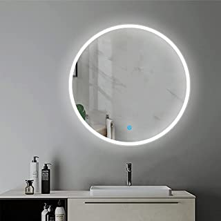 Espejo Redondo de Baño 60x60cm. Espejo de Ducha con Interruptor Táctil + LED Iluminación Blanca Fría, sin Antivaho