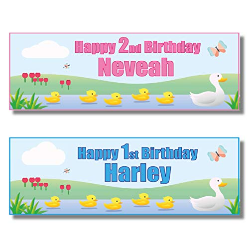 2 Personalised Children's Birthday Banners - Five Little Ducks - Any Name Any Age - Available for BOY and Girl (Approx 3ft x 1ft) (Pink)