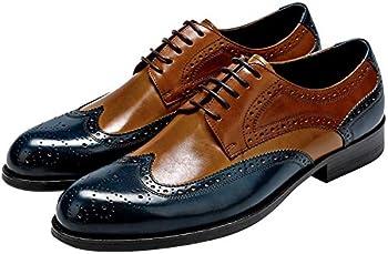 Mens Wingtip Oxford Shoes Mens Leather Dress Shoes Brogue Formal Shoes for Men Lace-up Derbies Shoes Blue-Brown 12 US