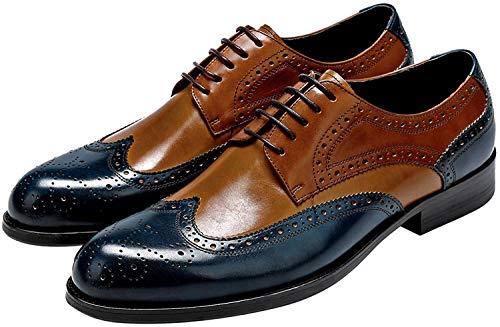 Mens Wingtip Oxford Shoes, Mens Leather Dress Shoes, Brogue Formal Shoes for Men, Lace-up Derbies Shoes Blue-Brown 12 US