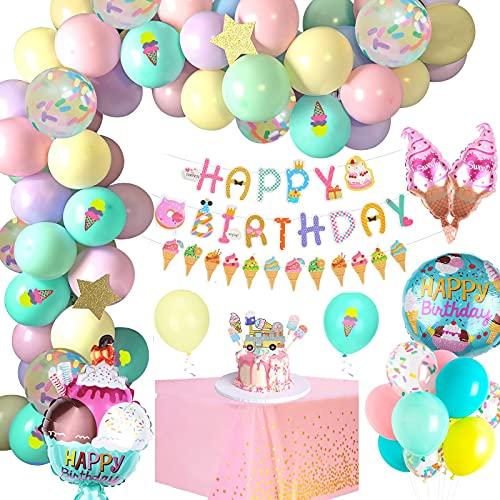 Decoración Fiesta Cumpleaños Globos, APERIL Decoraciones Cumpleaños de Fiesta helado con Pancarta de Happy Birthday, Macaron Látex Globos de Cumpleaños para Decoración Niña