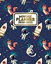 2020-2022 Monthly Planner: Cute Space Cat Three Year Calendar & Organizer with Monthly Spread Views - 3 Year Schedule Agenda, To-Do's, Motivational ... & Vision Boards - Nifty Cartoon Astronauts