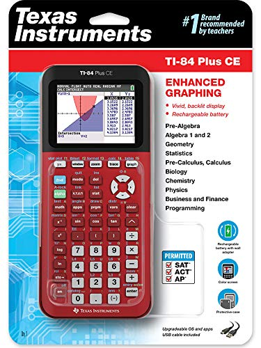 Texas Instruments TI-84 Plus CE Color Graphing Calculator, Radical Red Photo #4