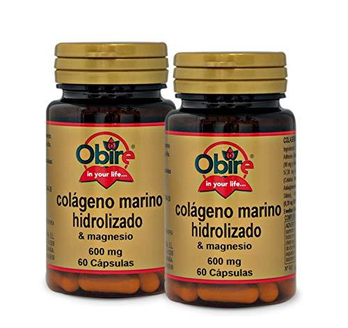 Colágeno marino hidrolizado + magnesio 600 mg. 60 capsulas con vitamina C, vitamina B6, vitamina B9 y vitamina B12. (Pack 2 unid.)