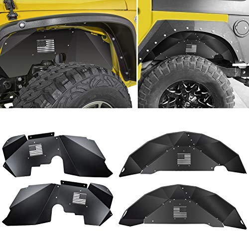 Price comparison product image Sunluway Front + Rear Inner Fender Liners Fit for Jeep Wrangler 2007-2018 JK JKU 4WD US Flag Logo Black Aluminum Lightweight Splash Guards