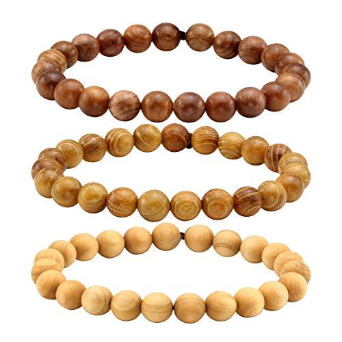 MILAKOO 3 Pcs 8mm Bead Bracelet Tibetan Buddhist Buddha Meditation Men Elastic Bracelet