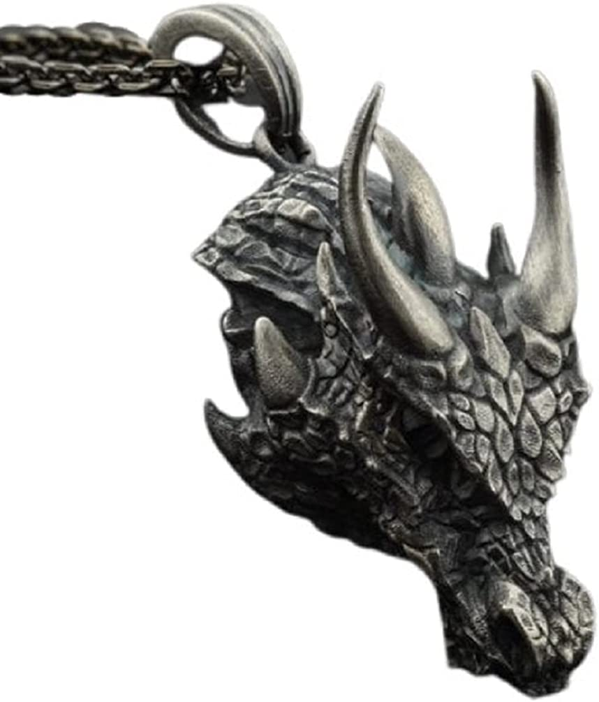Dragon Necklace for Men, Nordic Viking Dragon Head Pendant Necklace Fierce Dragon Necklace Pure Tin Men's Punk Dragon Charm Necklace Jewelry Gift Father's Day Accessories