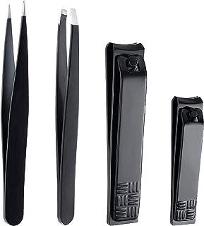 XYGK - Juego de cortadores de uñas y pinzas profesionales para cejas, para hombres y mujeres, color negro