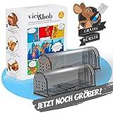 VICI&BOB - Mausefalle lebend [2er Set] extra große und maximal tierfreundliche lebendfalle für Mäuse Inkl. Gratis Bürste | für Tierfreunde (0-99 Jahre)