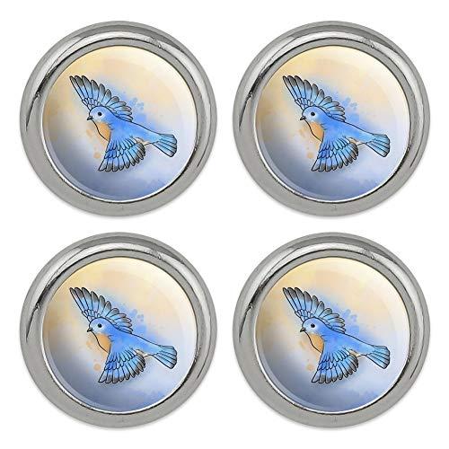 Eastern Bluebird Watercolor Northeastern Bird Metal Craft Sewing Novelty Buttons - Set of 4