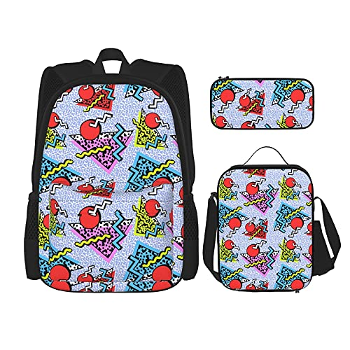 Mochila de estilo geométrico de los años 80 años 90, mochila escolar para niños, bolsa de almuerzo con estuche de lápiz, juego de bolsa de escuela 3 en 1