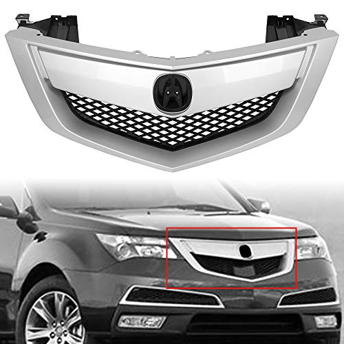 ECOTRIC New Front Grille Assembly Grill Plastic With Silver Moulding Trim Compatible With 2010-2013 ACURA MDX Front Bumper Mesh Grille Cover Trim Replacement for Part Number # AC1200118 75100STXA02