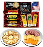 Ultimate USA Gift Basket - features USA Flag Mug, Smoked Summer Sausages, 100% Wisconsin Cheese, Crackers, Pretzels and Mustard. Best Gifts for Birthday and Christmas Gifts!