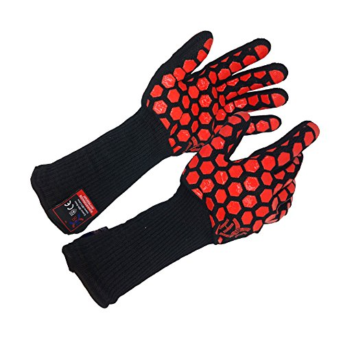 JH H01361 Heat Resistant Oven Gloves:EN407 Certified Withstand 932 °F, Double Layers Silicone Coating, BBQ Gloves & Oven Mitts For Cooking, Kitchen, Fireplace, Grilling, 1 Pair,Extended Long Cuff