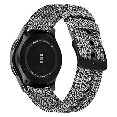 MroTech Correa 22mm Compatible con Samsung Gear S3 Frontier/Galaxy Watch 46mm Pulsera de Repuesto para Huawei 2 Classic/GT/GT2 46 mm Reloj Banda Deportiva Nylon Sport Band Strap Tela Tejida-Negro