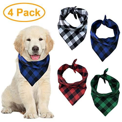 Pañuelos para Perros a Cuadros, Paquete de 4, pañuelos para Perros Lavables de algodón Juego de pañuelos Conjunto de Bufanda Triangular Accesorios para Perros pequeños medianos Grandes Mascotas