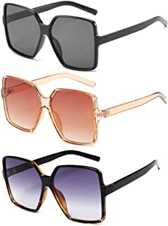 Sponsored Ad - Dollger Oversized Square Sunglasses for Women Big Large Wide Fashion Shades for Men 100% UV Protection Unisex
