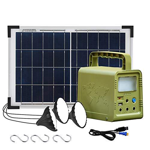 ECO-WORTHY 84 Wh Sistema de kit de iluminación de generador solar de estación de energía portátil con panel solar de 18W y lámpara LED para acampar al aire libre, emergencia en el hogar