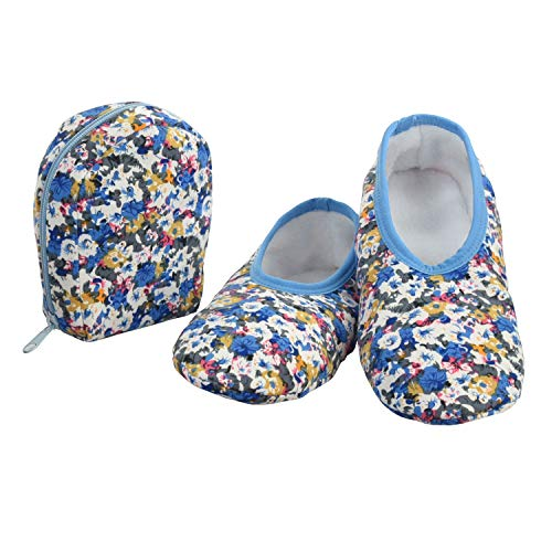 Snoozies Skinnies & Travel Pouch   Purse Slippers for Women   Travel Flats with Pouch   Womens Slippers On The Go   Floral Prints   Light Blue with Flowers   Small