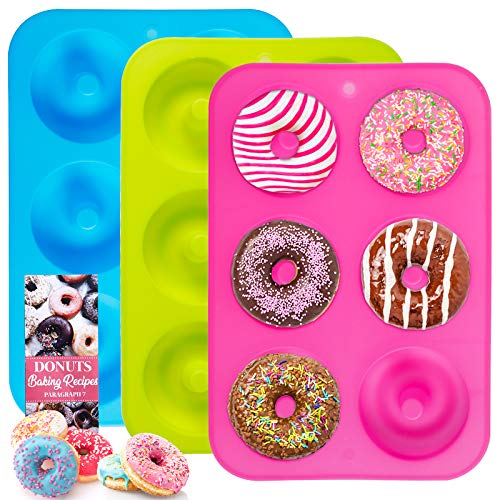 BAKHUK Donut Pan Silicone Donut Mold 3 Pcak NonStick Mold for Donuts Bagels and More Tray Measures 10x7 Inches