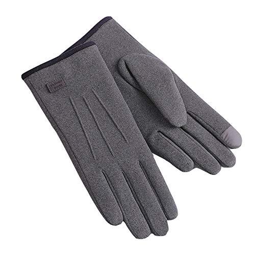 Handpolite Dralon Damen Handschuhe, selbstwärmend, superweich, extra warm, Winddicht, Text, Touchscreen, Fahren, Laufen, Outdoor, Lange Fleece, dick gefüttert, für Frauen und Mädchen, grau, F