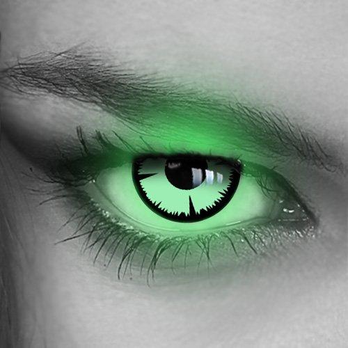 Kontaktlinsen farbig UV Neon-Target - (GRÜN,BLAU,PINK,GELB,ORANGE) - Crazy Fun Halloween Party Fasching Karneval Disco (Grün/Green)