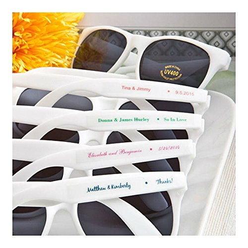 40 - Personalized White Sunglasses - Beach Themed Wedding and Party Favor Romantic